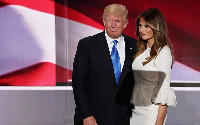 Donald Trump posing with his wife, Melania, after she delivered a speech on the first day of the Republican National Convention, July 18, 2016. (Alex Wong/Getty Images, via JTA)