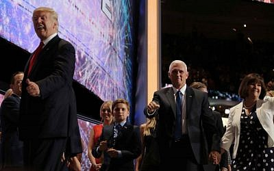 Donald Trump and Mike Pence at the Republican National Convention on July 21, 2016 (Eric Cortellessa / Times of Israel)