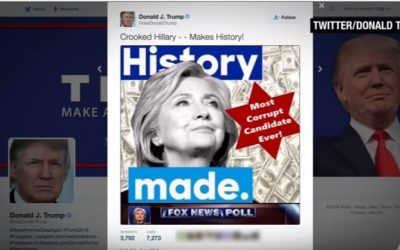 An image tweeted, and then deleted, by Donald Trump on July 2, 2016, which uses a Star of David to call Hillary Clinton the 'Most Corrupt Candidate Ever!' (screen capture: YouTube)