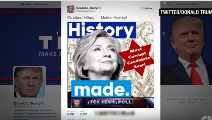 An image tweeted and then deleted by Donald Trump on July 2, 2016 that uses an apparent Star of David to call Hillary Clinton 'the most corrupt candidate ever!' (screen capture: YouTube)