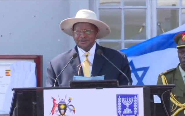 Ugandan President Yoweri Museveni addresses a ceremony marking 40 years since the Entebbe raid (screen capture: YouTube)