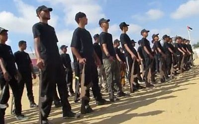 Gaza youth training at a Hamas summer camp (Middle East Media Research Institute)