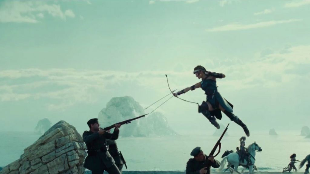Screen shot of Gal Gadot, airborne, in a fight scene in a trailer for Warner Brothers' 'Wonder Woman.' (YouTube screen capture)