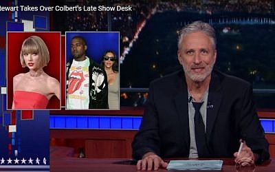 Jon Stewart makes a guest appearance on the Colbert Late Show on July 21, 2016. (Screen capture YouTube)