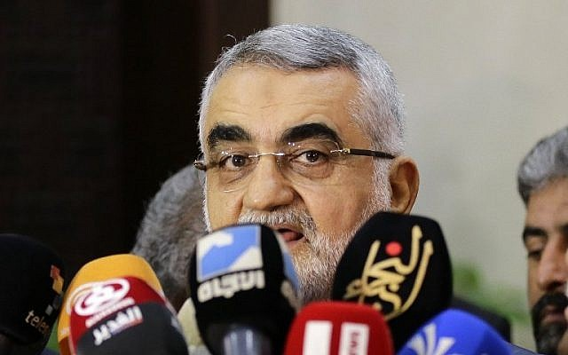 Alaeddin Boroujerdi, the chairman of Iran's Foreign Policy and the National Security Committee, speaks to the press after a meeting with the Syrian parliament speaker in Damascus, on August 3, 2016. (AFP PHOTO/LOUAI BESHARA)