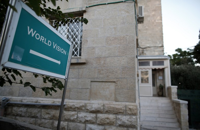 A picture taken on August 4, 2016, shows the office of the US-based Christian NGO, World Vision, in East Jerusalem. (AFP PHOTO/AHMAD GHARABLI)