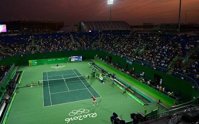 A general view shows Court 1 at the Olympic Tennis Center of the Rio 2016 Olympic Games in Rio de Janeiro on August 6, 2016. (Martin Bernetti/AFP)