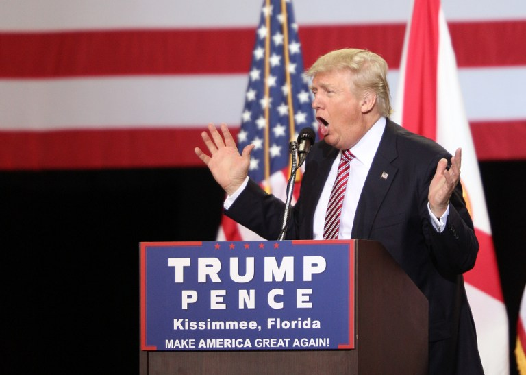 US Republican presidential candidate Donald Trump addresses supporters during a campaign rally in Kissimmee, Florida, on August 11, 2016. (AFP/Gregg Newton)