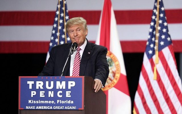 Republican presidential candidate Donald Trump addressing supporters during a campaign rally at Silver Spurs Arena inside the Osceola Heritage Park in Kissimmee, Florida.  August 10,  2016 (AFP PHOTO / Gregg Newton)