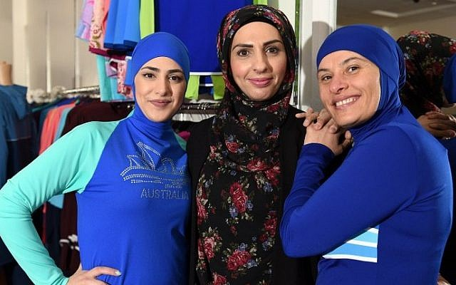 Muslim models display burkini swimsuits at a shop in western Sydney on August 19, 2016. (AFP/SAEED KHAN)