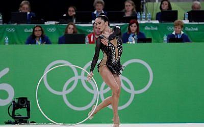 Israel's Neta Rivkin competes in the individual all-around qualifying event of the Rhythmic Gymnastics at the Olympic Arena during the Rio 2016 Olympic Games in Rio de Janeiro on August 19, 2016. (AFP PHOTO / Thomas COEX)