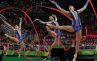 Israel competes in the group all-around qualifying event of the Rhythmic Gymnastics at the Olympic Arena during the Rio 2016 Olympics in Rio de Janeiro, Brazil, on August 20, 2016. (AFP/Ben Stansall)