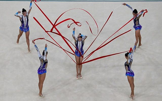 Israel competes in the group all-around qualifying event for rhythmic gymnastics at the Olympic Arena during the Rio 2016 Olympic Games in Rio de Janeiro on August 20, 2016. (AFP/Thomas Coex)