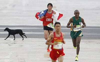 A stray dog runs behind Chile's Daniel Estrada (L) and South Africa's Sibusiso Nzima as they run towards the finish line of the Men's Marathon during the 2016 Olympic Games, August 21, 2016. (AFP/Adrian Dennis)