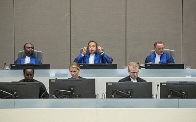 The International Criminal Court in The Hague, August 22, 2016, at the trial of alleged al-Qaeda-linked Islamist leader Ahmad Al Faqi Al Mahdi over the destruction of historic mausoleums in the Malian desert city of Timbuktu. (AFP/ANP/Patrick Post)
