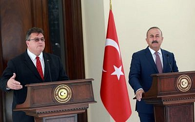 Turkish Foreign Minister Mevlut Cavusoglu (R) and Lithuanian Minister of Foreign Affairs, Linas Linkevicius (L) give a joint press conference following their meeting at the Foreign Ministry Residence in Ankara, on August 22, 2016. (AFP PHOTO/ADEM ALTAN)