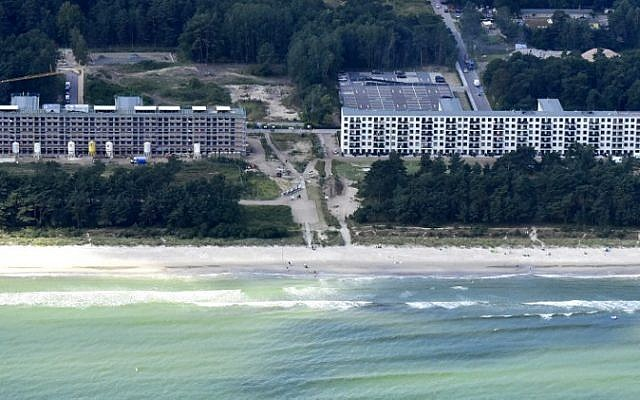 An aerial view of the recently created luxury apartments at the site of the heritage-protected Prora Complex in Prora, near Binz, on the island of Ruegen, August 18, 2016. (AFP PHOTO / TOBIAS SCHWARZ).