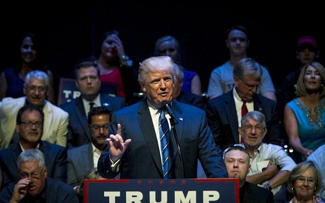 Republican presidential candidate Donald Trump speaks at the Merrill Auditorium in Portland, Maine, on August 4, 2016. (Sarah Rice/Getty Images/AFP)