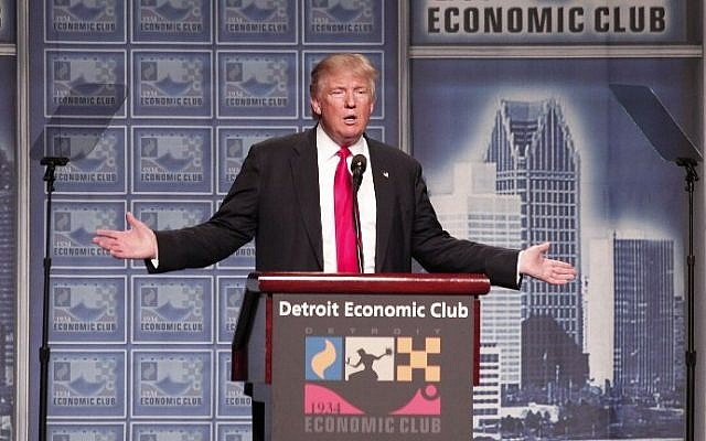 Republican presidential candidate Donald Trump delivers an economic policy address detailing his economic plan at the Detroit Economic Club August 8, 2016 in Detroit Michigan. (Bill Pugliano/Getty Images/AFP)