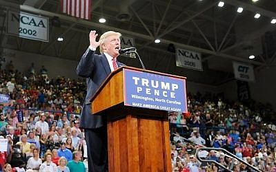 Republican presidential nominee Donald Trump speaks at a campaign event at Trask Coliseum on August 9, 2016 in Wilmington, North Carolina. (Sara D. Davis/Getty Images/AFP)