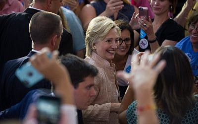 Democratic presidential candidate Hillary Clinton greets supporters at a rally at John Marshall High School on August 17, 2016 in Cleveland, Ohio. (Jeff Swensen/Getty Images/AFP)