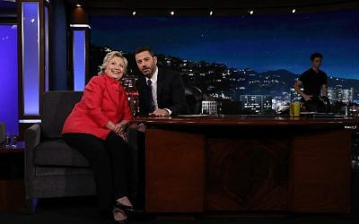 Democratic presidential nominee Hillary Clinton talks with Jimmy Kimmel on the set of Jimmy Kimmel Live in Los Angeles, California, August 22, 2016. (Justin Sullivan/Getty Images/AFP)