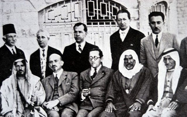 Haim Arlosoroff (seated centre) with Chaim Weizmann (to his left) at a meeting with Arab leaders at the King David Hotel, Jerusalem, 8 April 1933. Also pictured Moshe Shertok (Sharett) and Yitzhak Ben-Zvi (standing in the right). The representatives from Transjordan were Sheikh Mithqal Pasha al-Faiz, Chief of the Bani Sakhr; Rashid Pasha al-Khaza'i, supreme sheikh of Mount Ajlun; Mitri Pasha Zurikat, Christian leader from al-Karak district; Shams-ud-Din Bey Sami, Circassian leader, and Salim Pasha Abu al-Ajam, supreme sheik of the Belka region. According to Davar, June 11, 1958, page 3, the picture was taken the eve of Passover 1931 at discussions on land sale in Transjordan (Courtesy: wikipedia)