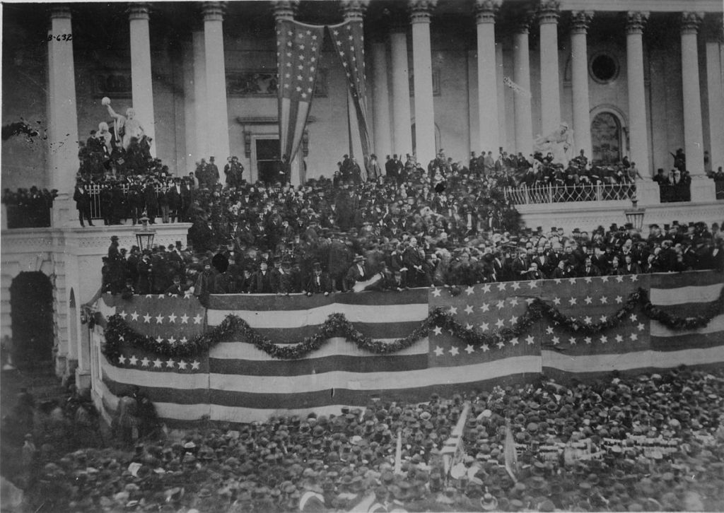 First inauguration of Ulysses S. Grant on the steps of the Capitol on March 4, 1869. (public domain via wikipedia)