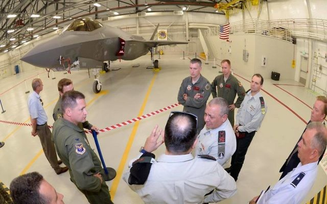 IDF Chief of Staff Gadi Eisenkot (center, facing left) visits the Utah factory where Israel Air Force's F-35 fighter jet squadron are under construction on August 3, 2016. (IDF Spokesperson/Facebook)