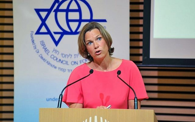 Katharina von Schnurbein, the EU's coordinator for fighting anti-Semitism, addressing the  Israel Council on Foreign Relations in Jerusalem, July 14, 2016 (Andres Lacko)