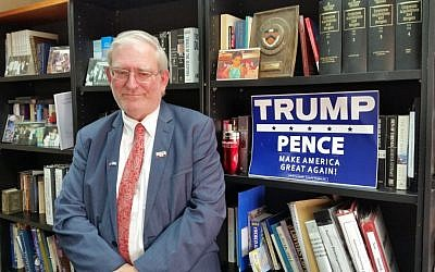 Marc Zell, co-chair of Republicans Overseas Israel, in his Jerusalem office, August 23, 2016. (Raphael Ahren/Times of Israel)