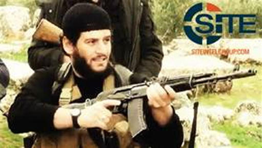 This undated image provided by SITE Intel Group shows Abu Muhammed al-Adnani, the Islamic State number 2 who was 'martyred' in northern Syria, the jihadist group said on Aug. 30, 2016. (SITE Intel Group via AP)
