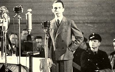 Undated photo of Joseph Goebbels, Nazi Minister of propaganda, delivering a speech. (Bengt von zur Muehlen/Yad Vashem Photo Archive)