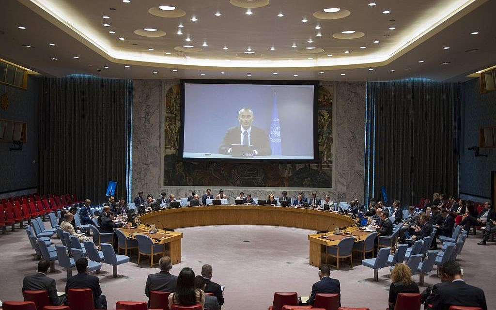 Nockolay Mladenov addressing the UN Security Council by videoconference on August 29, 2016. (UN/Rick Bajornas)