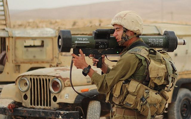 Illustrative. An IDF soldier fires a Man-portable Anti-Tank, Anti-DOoR (MATADOR) missile during a training exercise at an army base in southern Israel on December 4, 2012. (Zev Marmorstein/IDF Spokesperson's Unit/Flickr)