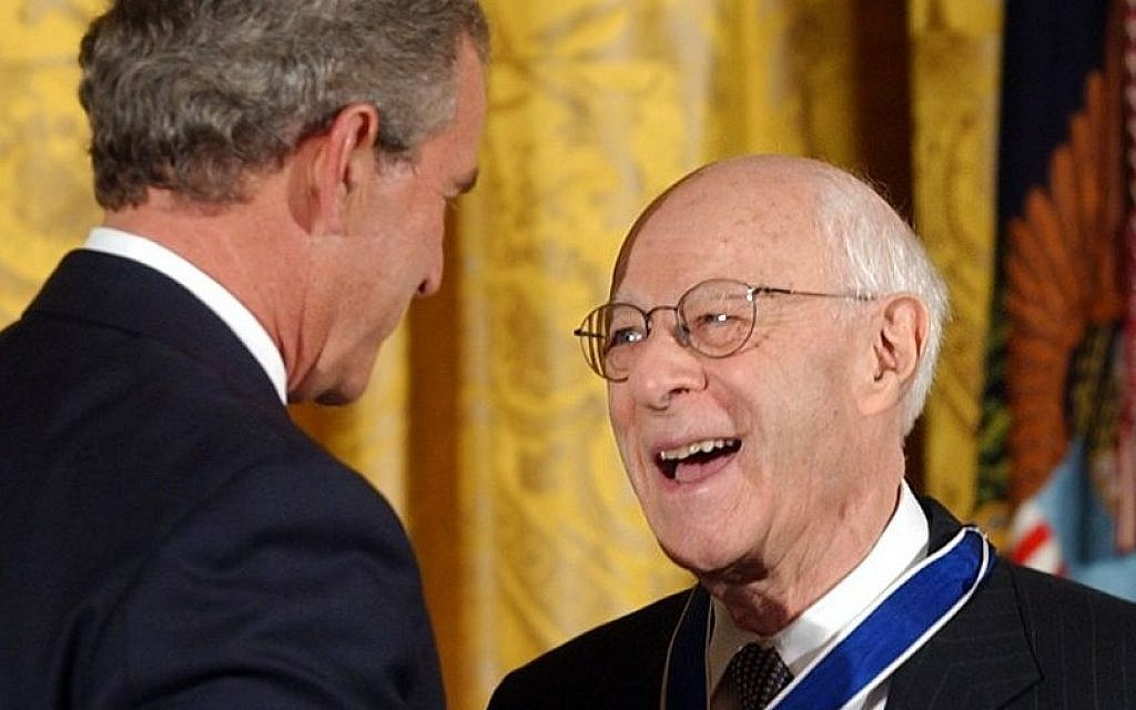 President Bush presents Norman Podhoretz with the Presidential Medal of Freedom, the nation's highest civil award, during a ceremony in the East Room of the White House, June 23, 2004 (Susan Walsh/AP)