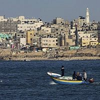 Illustrative photo of Palestinian fishermen on a boat off the coast of the Gaza Strip, February 9, 2016. (AP Photo/Adel Hana)