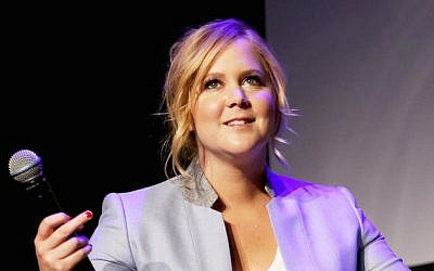 Actress Amy Schumer speaks at the 2015 Tribeca Film Festival on April 19, 2015 in New York City. (Robin Marchant/Getty Images via JTA)