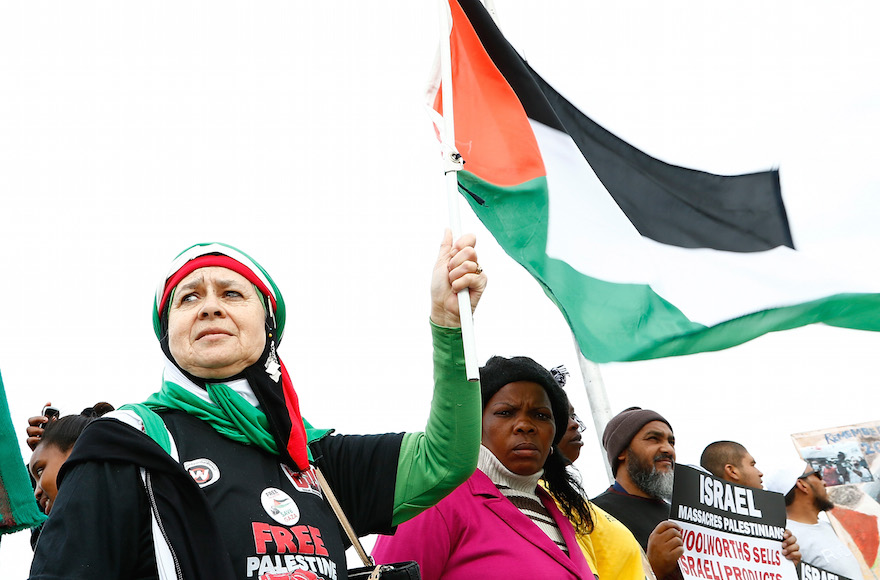 Pro-Palestinian Protesters supporting the Boycott Divestment and Sanctions (BDS) campaign against Israel demonstrates ahead of Pharrell Williams concert outside Grand West Arena on September 21, 2015 in Cape Town, South Africa. (Michelly Rall/Getty Images)