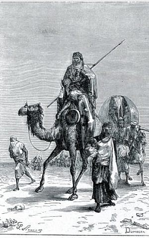 Benjamin of Tudela in the Sahara , in the XIIth century, as shown in an engraving by Dumouza (Public domain, via Wikimedia Commons)