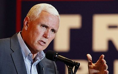 Republican vice presidential candidate Indiana Gov. Mike Pence speaks during a campaign stop in Dayton, Ohio, Wednesday, Aug. 10, 2016. (Ty Greenlees/Dayton Daily News via AP)
