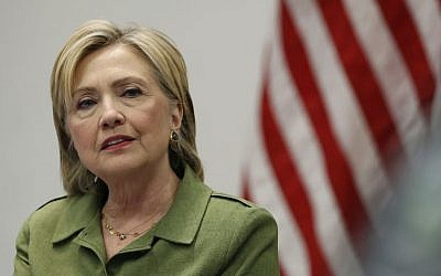 Democratic presidential candidate Hillary Clinton speaks to media at John Jay College of Criminal Justice in New York, August 18, 2016. (AP/Carolyn Kaster)
