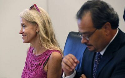 Kellyanne Conway, left, campaign manager for Republican presidential candidate Donald Trump, attends his Hispanic advisory roundtable meeting in New York, Saturday, August 20, 2016. (AP /Gerald Herbert)