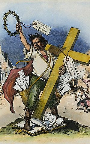 American cartoon by Grant Hamilton printed in 'Judge' Magazine in 1896 on William Jennings Bryan's 'Cross of Gold' speech at the Democratic National Convention in Chicago, which won Bryan the presidential nomination. (public domain via wikipedia)