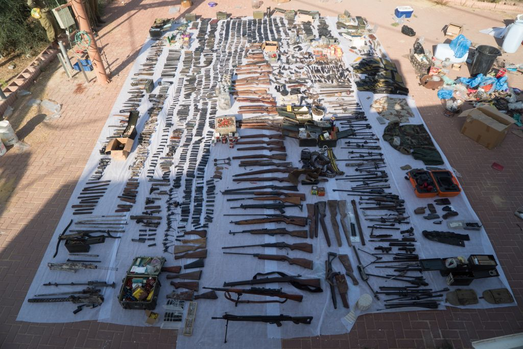 Dozens of illegal weapons seized by Israeli security forces in Bethlehem and Hebron on August 23, 2016, as part of a large crackdown effort on illicit guns in the West Bank. (IDF Spokesperson's Unit)