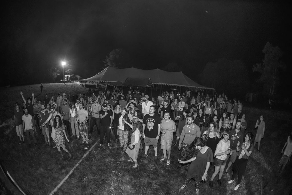 Festival goers at The Camping Trip after Shabbat. (Jake Sojcher)