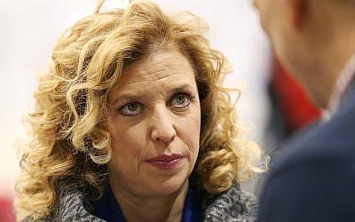 US Representative Debbie Wasserman Schultz (D-Fla. 23rd District) Dec. 19, 2015. (Andrew Burton/Getty Images via JTA)