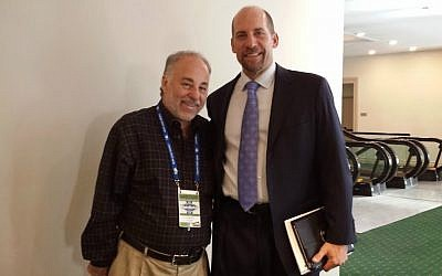Baseball writer Dan Schlossberg, left, with the former Atlanta Brave and Hall of Fame pitcher John Smoltz. (Courtesy of Dan Schlossberg/via JTA)