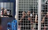 Illustrative image of aecurity prisoners in the Ofer Prison facility near Ramallah, August 20, 2008. (Moshe Shai/Flash90)