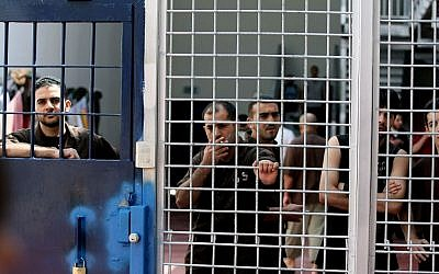 Security prisoners in the Ofer Prison facility near Ramallah, August 20, 2008. (Moshe Shai/Flash90)